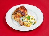Muslo de pollo al horno con guarnición