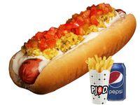 Combo - Hot dog completo + papas fritas medianas + bebida Pepsi 350 ml
