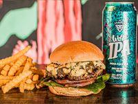 Blue Burger + Papas + Birra