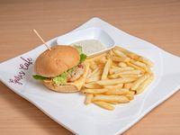 Combo - Hamburguesa de pollo + acompañamiento + soda 355 ml