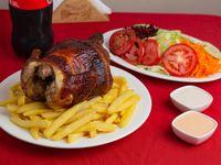 Promo - Pollo a las brasas + papas fritas + ensalada + bebida 1.5 L