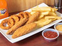 Combo trío 4 - 3 chicken fingers + 5 aros de cebolla + papas fritas + bebida 250 ml