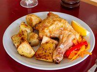 1/4 pollo al horno con papas