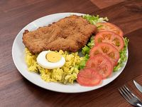 Milanesa al plato de carne o pollo con guarnición