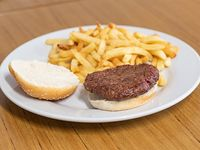 Hamburguesa sola con papas fritas