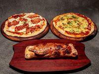 Promo Familia - 2 Pizzas caseras 2 gustos cada una 30 cm y 1 Calzone casero 2 gustos
