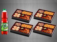 (4) Bento pollo Arroz Japones + Bebida Familiar
