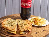 Combo - Burguerpizza + Coca-Cola 1.5 L +2 papas fritas