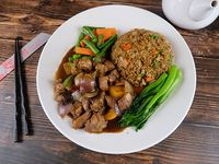 Wok spare rib with black bean sauce and rice