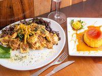 Porción de cintas, ñoquis o ravioles de pollo y verdura + flan casero