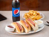 Promoción - 3 Panchos La Pasiva + Papas fritas + refresco Pepsi 500 ml