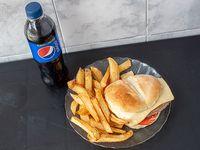 Promoción - Hamburguesa completa + papas fritas + gaseosa 500ml