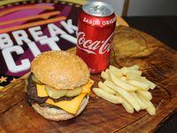 Doble Chesse Burger + Bebida + Papas fritas