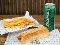 Combo - Pancho gourmet + papas fritas + cerveza a elección