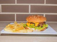 Hamburguesa Doble Carne + Papas a la Francesa