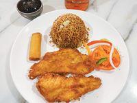Combo2 Pechuga de Pollo Apanado+ Arroz frito+Rollos de primavera+ Ensalada