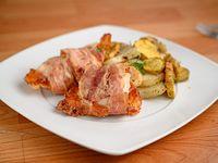 Menú - arrollado de pollo con panceta + papas y boñatos al horno