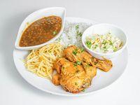 N#5: pollo guisado con macarrón, ensalada del día y tajada