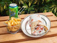 Combo Shawarma Mixto + papas fritas + bebida lata 330 ml