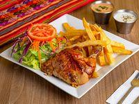 Promoción - 1/4 Pollo + Papas fritas + Ensalada + Cremas