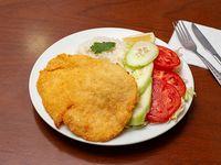 Promo - Pollo apanado acompañado con arroz y ensalada