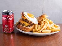 Promo 1 - Hamburguesa doble Americana + papas fritas +gaseosa pepsi de 500