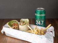 Combo - Wrap + papas fritas + cerveza Patagonia 473 ml