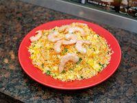 Arroz al wok con camarones