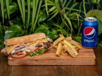 Combo - Lomito completo + Papas fritas + Gaseosa línea Pepsi 354 ml