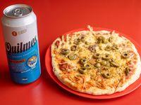 Promo - Pizza con muzzarella individuales  + cerveza Quilmes 500 ml