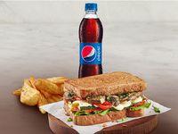 Sándwich Vegetariano Queso Domicilios Temporada + Acompañamiento + Gaseosa Pet 400 ml