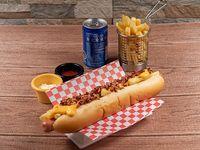 Combo - Bacon dog (22 cm) + Cono de papas fritas + Bebida 220 ml