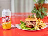 Promo Hamburguesa completa con papas fritas + cerveza Brahma 473 ml