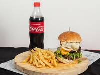 La guerta burger con papas fritas + refresco de 600 ml