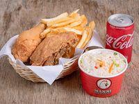 Combo 2 - Doble porción de pollo frito + papas fritas + arroz + gaseosa 220 ml