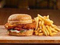 Burger veggie con papas fritas