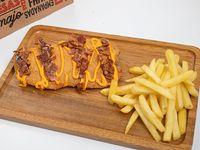 Milanesa cheddar bacon con guarnición