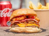 Promo - Burger barbecue Memphis + papas fritas +  bebida 350 ml