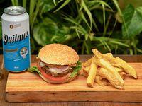 Combo - Hamburguesa completa + Papas fritas + Cerveza Quilmes 473 ml