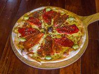 Pizza con muzzarella y morrón