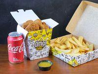 Combo - Nuggets (6 unidades) + papas fritas + salsa + bebida en lata 355 ml