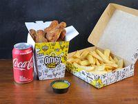 Combo - Alitas (4 unidades) + papas fritas + salsa + bebida en lata 355 ml