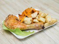 Miércoles - Muslo de pollo al horno con boniatos y papas