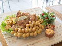 6 - Pollo al spiedo con crema de queso cheddar